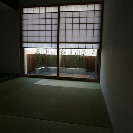 シャープな質感と異素材が織り成す 洗練された印象の坪庭