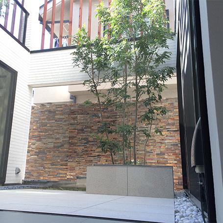モダンな建物と自然素材が調和するテラス