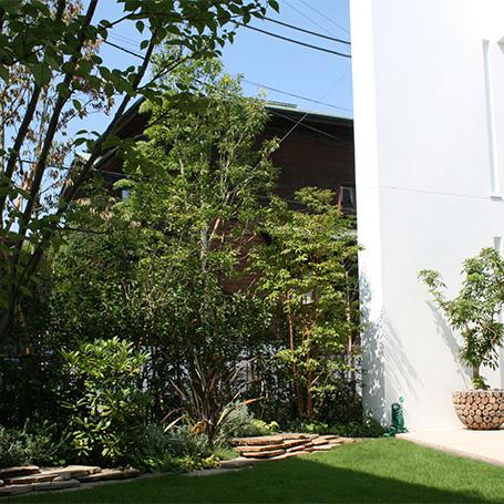 緑に囲まれた広々とした芝庭にアクセントを与える石積みライン