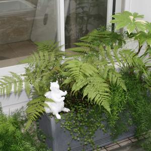 爽やかな白に四季の彩りを添える中庭テラス